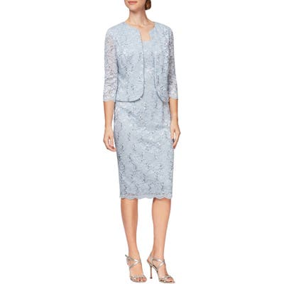 Alex Evenings Sequin Lace Shift Dress With Jacket, Blue