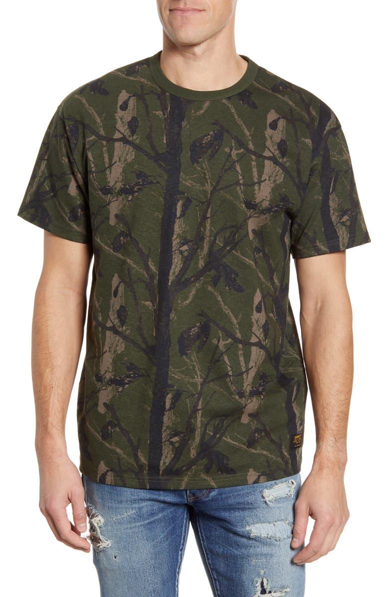 CARHARTT WORK IN PROGRESS Military T-Shirt, Main, color, CAMO/ TREE GREEN