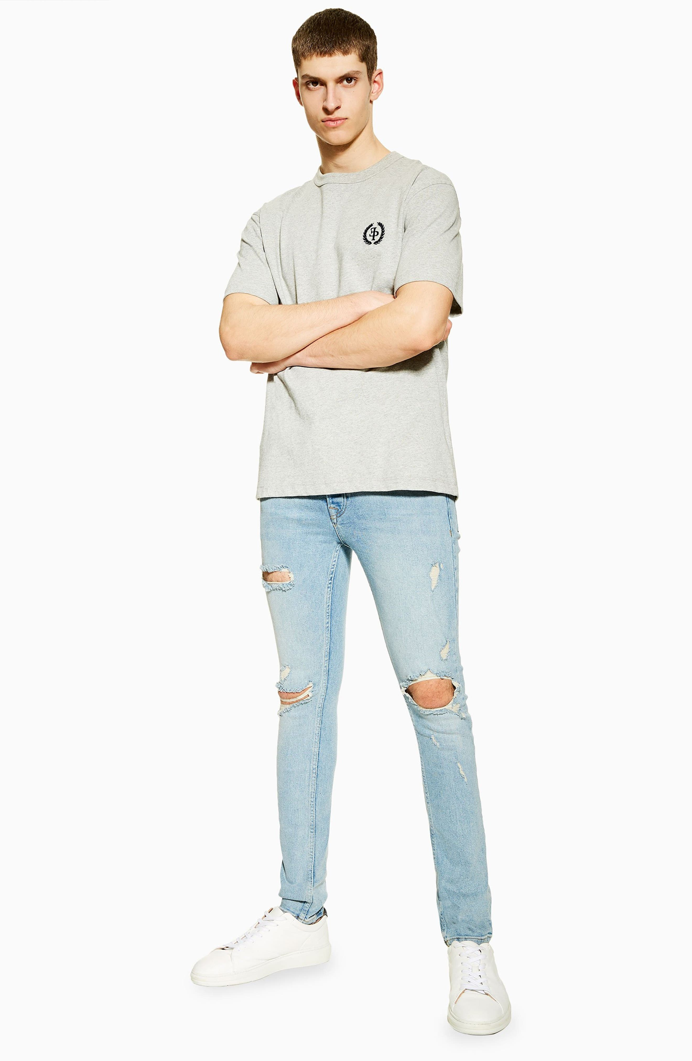 ,                             Ripped Stretch Skinny Fit Jeans,                             Alternate thumbnail 6, color,                             BLUE