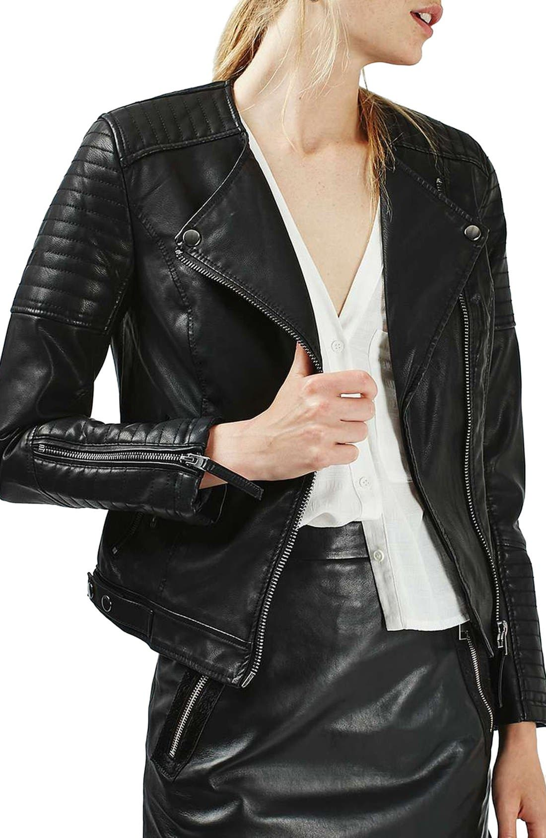 Nelly Faux Leather Biker Jacket, Main, color, 001