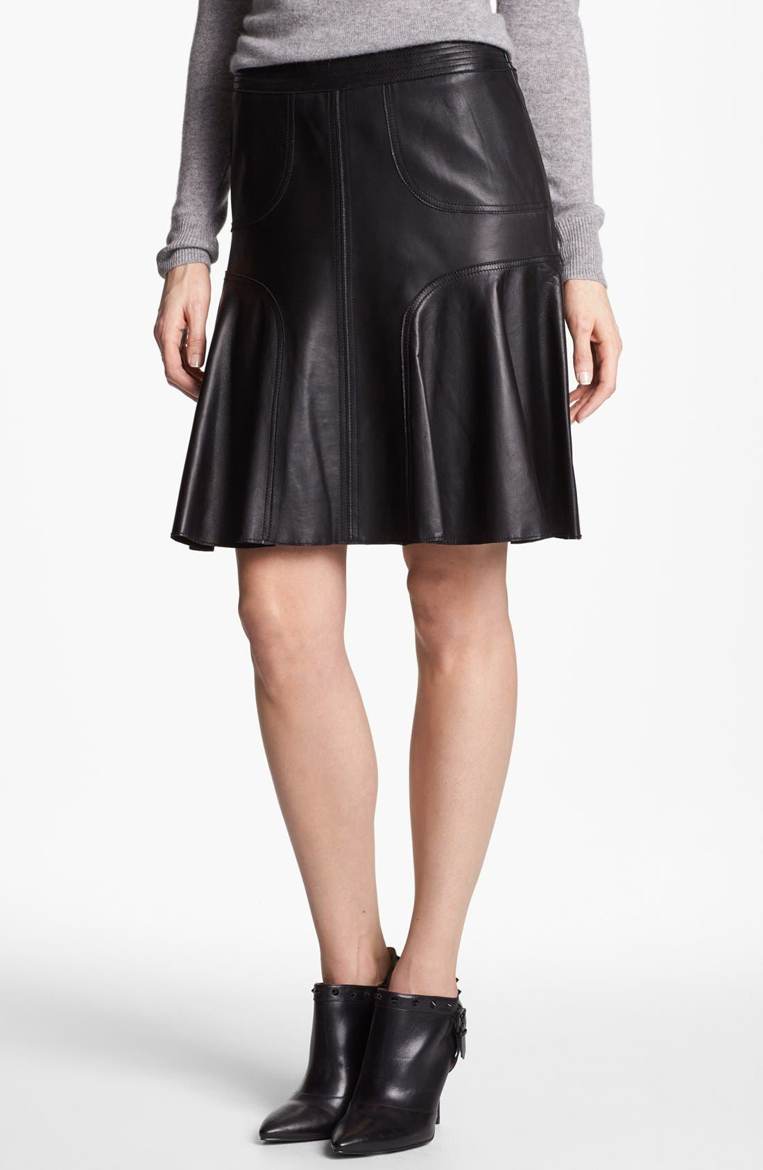 Leather A-Line Skirt, Main, color, 001