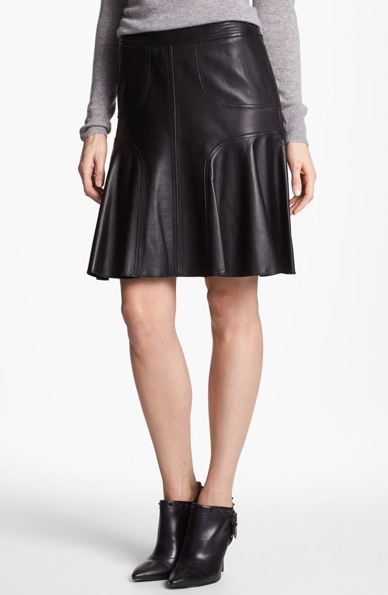 HALOGEN<SUP>®</SUP> Leather A-Line Skirt, Main, color, 001