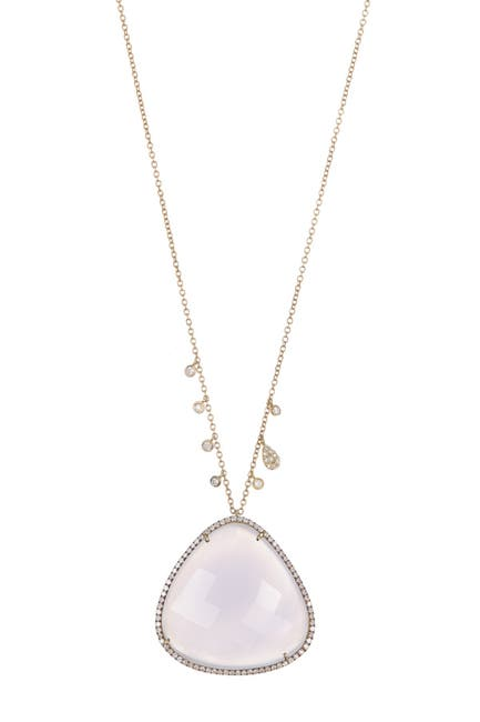 Image of Meira T 14K Yellow Gold Halo Chalcedony & Diamond Pendant Necklace