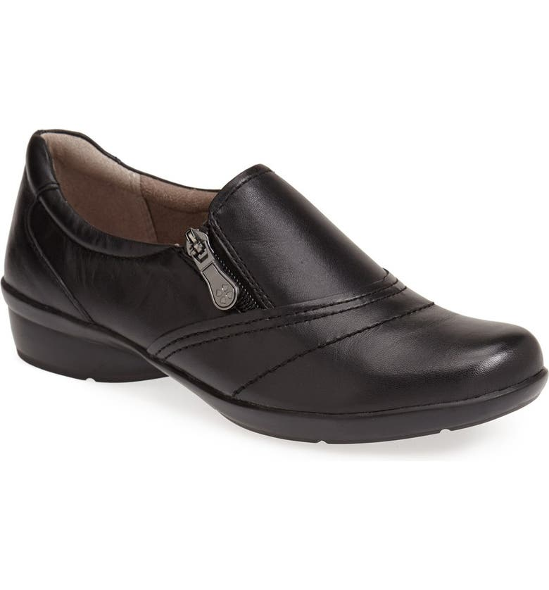 NATURALIZER 'Clarissa' Leather Flat, Main, color, BLACK