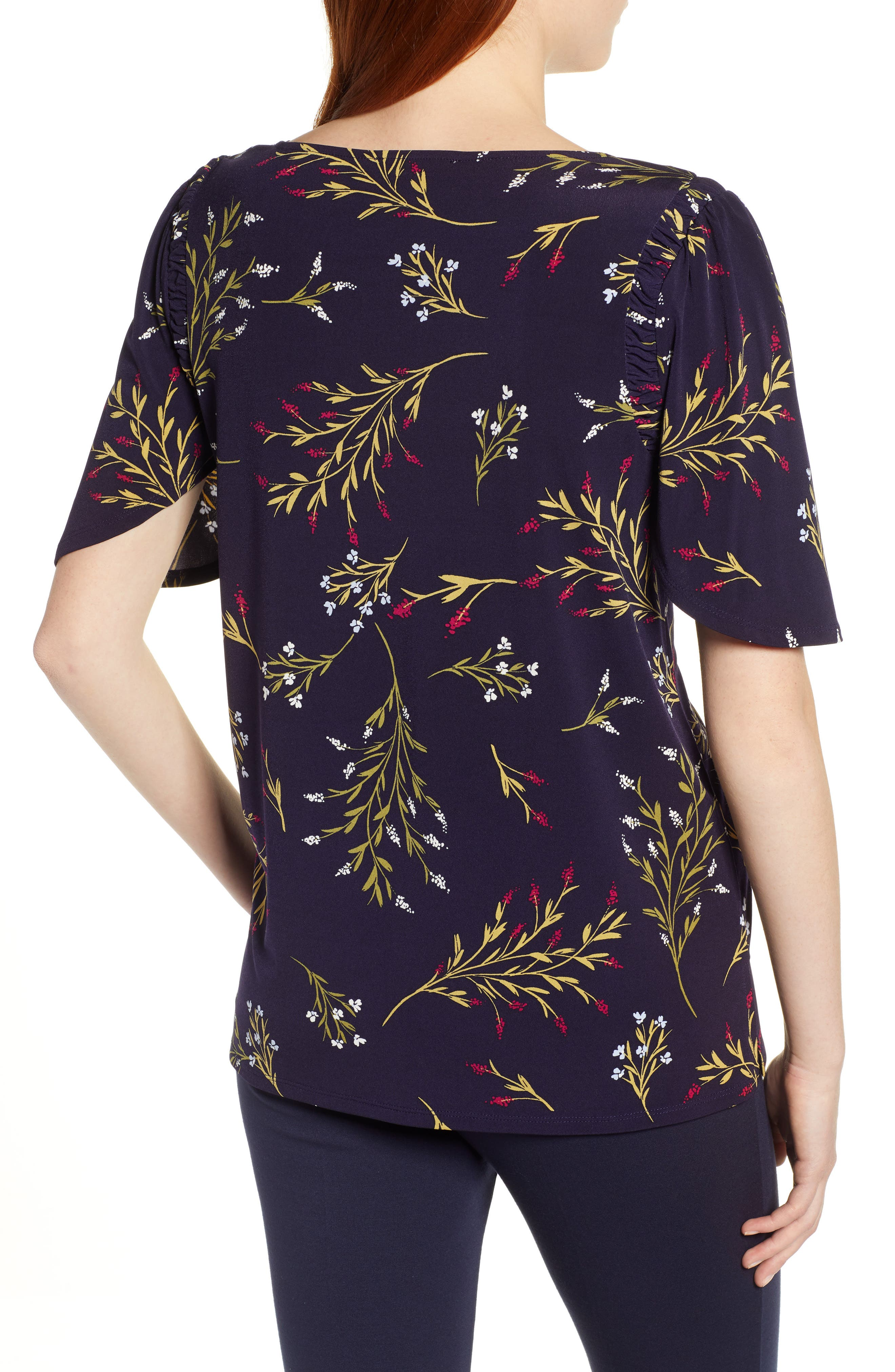 ,                             Trailing Bouquet Flutter Sleeve Top,                             Alternate thumbnail 2, color,                             EVENING NA