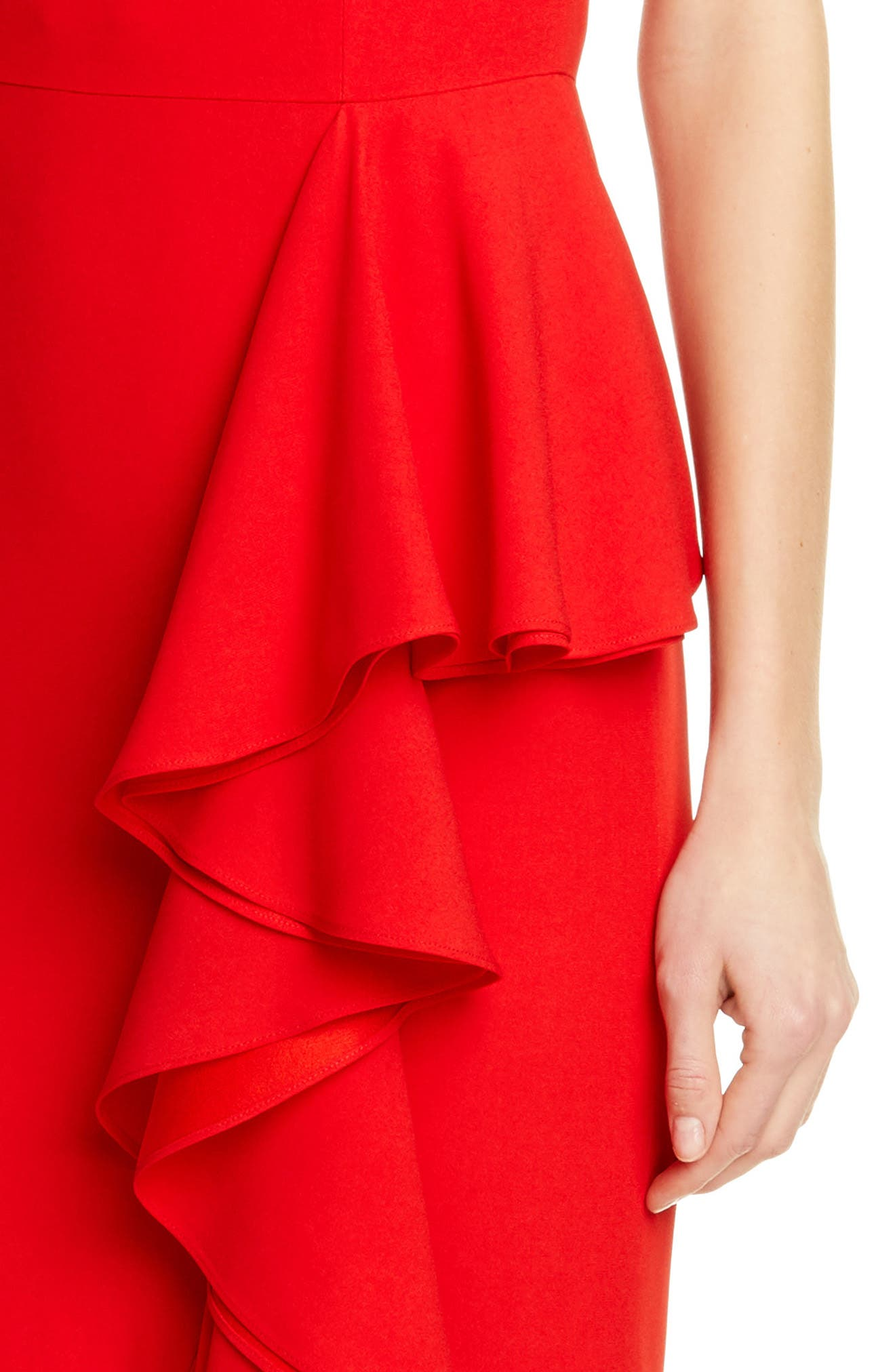 ,                             Ruffle Off the Shoulder Evening Dress,                             Alternate thumbnail 4, color,                             LUST RED