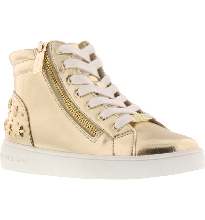 MICHAEL MICHAEL KORS Jem Taliyah Metallic High Top Sneaker, Main, color, SOFT GOLD