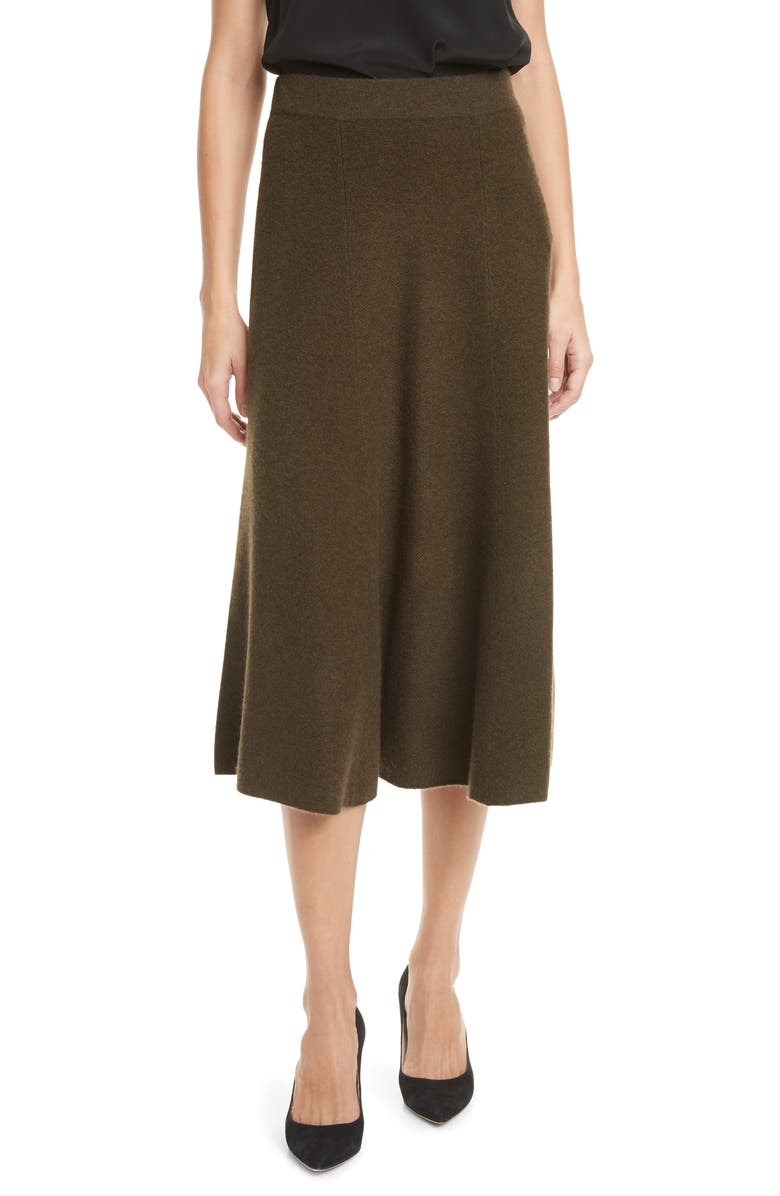 NORDSTROM SIGNATURE Cashmere Midi Skirt, Main, color, OLIVE DARK HEATHER