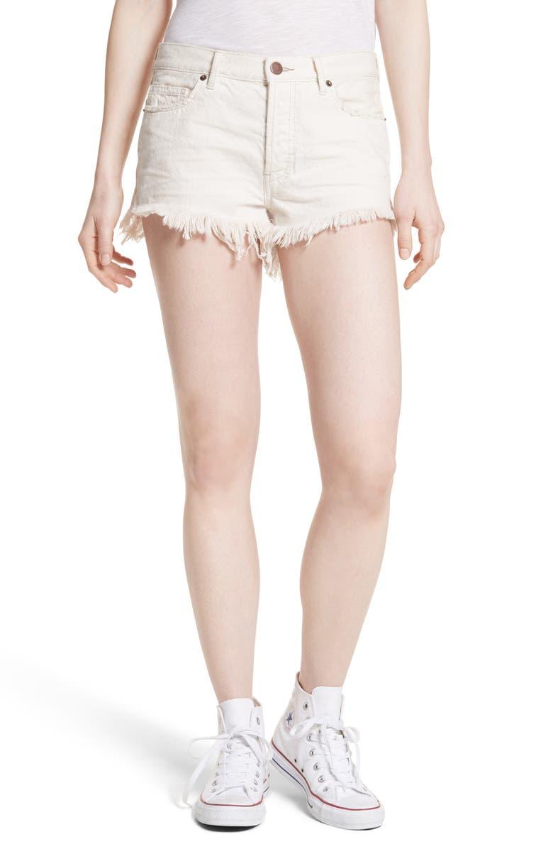 FREE PEOPLE Cutoff Denim Shorts, Main, color, 100