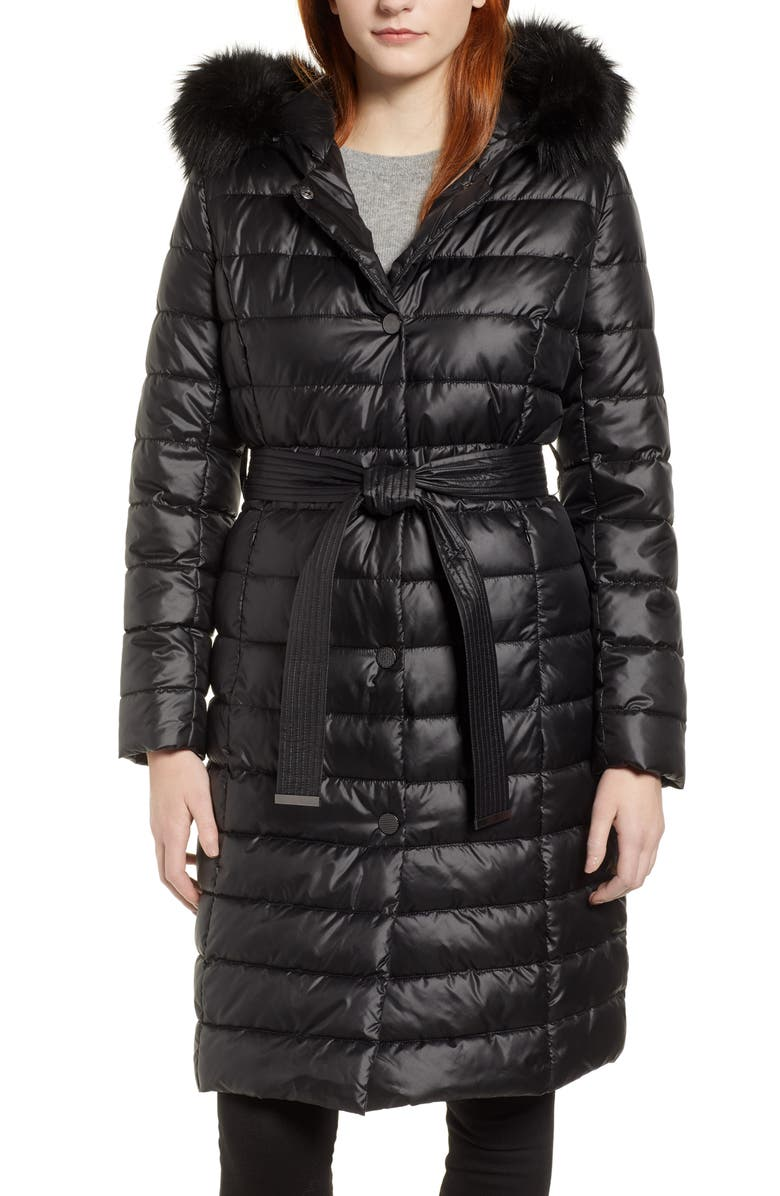 KENNETH COLE NEW YORK Quilted Coat with Faux Fur Collar, Main, color, 001