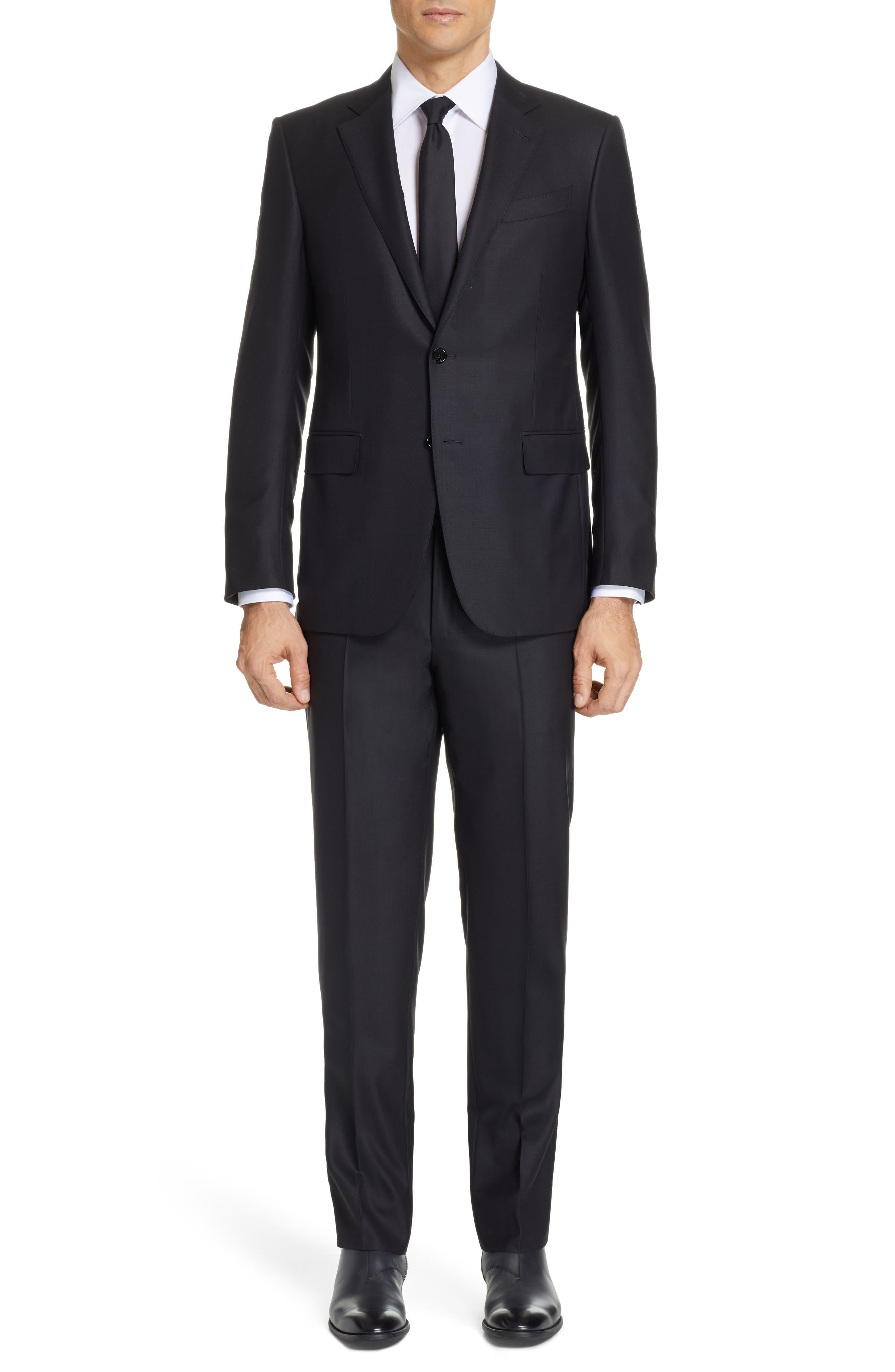 ,                             Classic Fit Plaid Wool Suit,                             Main thumbnail 1, color,                             BLACK