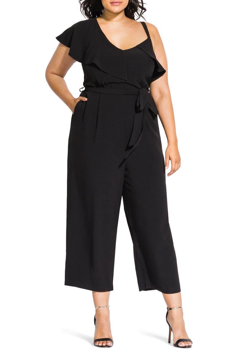 CITY CHIC Romance Asymmetrical Crop Jumpsuit, Main, color, 001