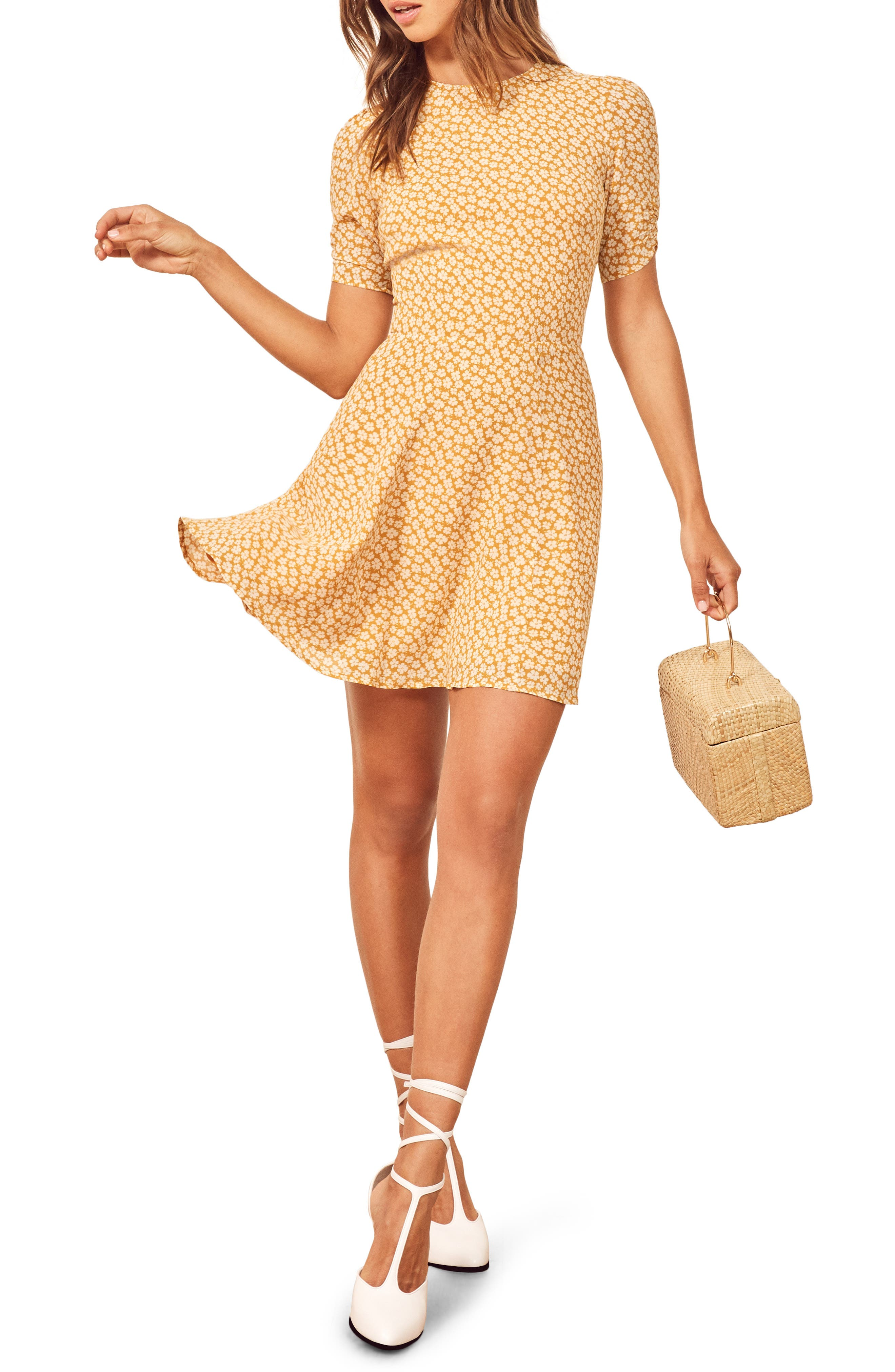 Reformation Gracie Ruched Sleeve Minidress