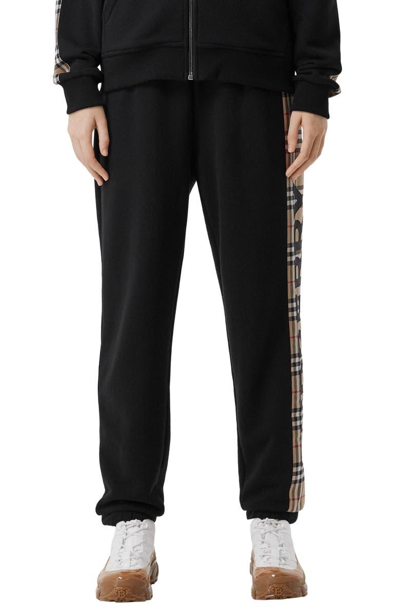 BURBERRY Raine Vintage Check Panel Cotton Track Pants, Main, color, 001