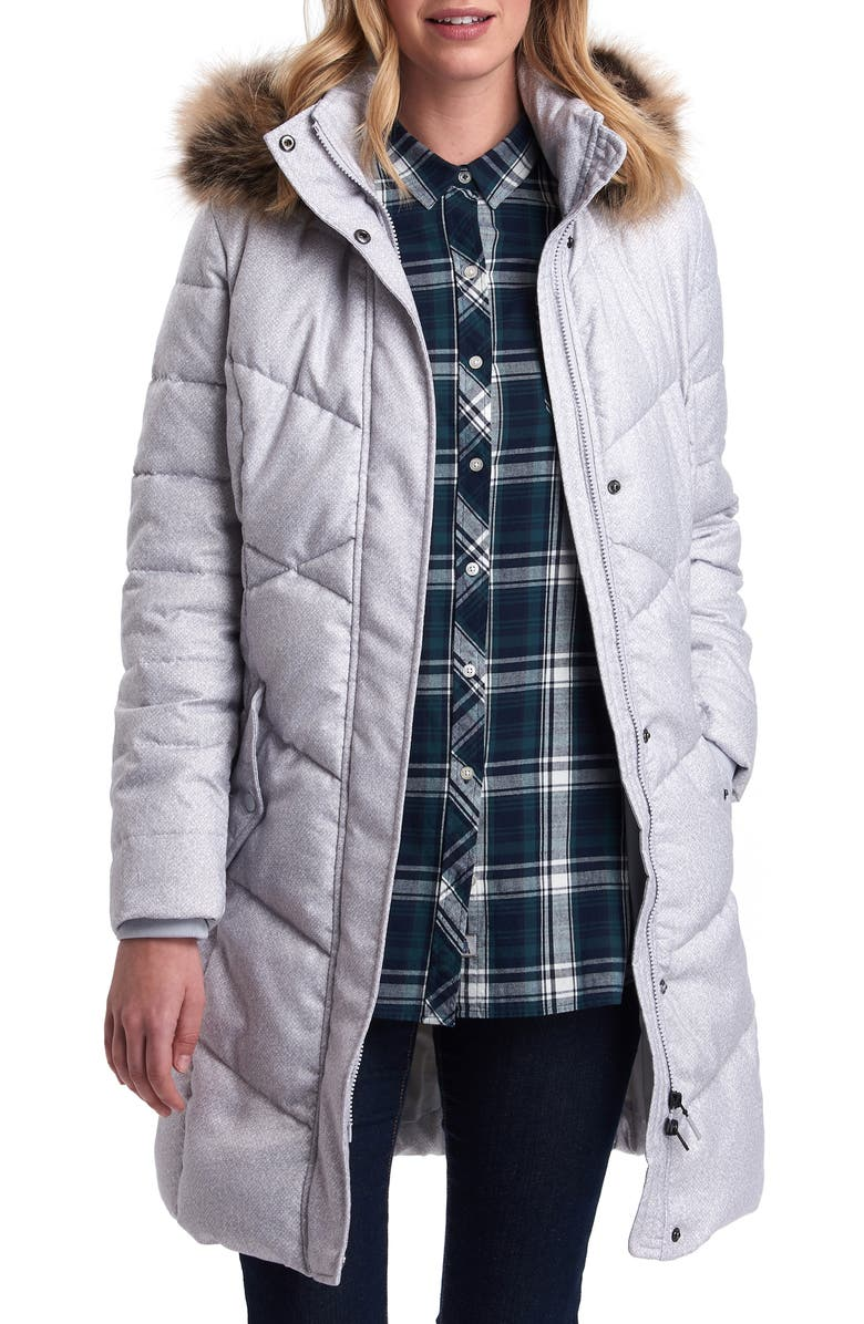 BARBOUR Sternway Quilted Hooded Parka with Faux Fur Trim, Main, color, 045