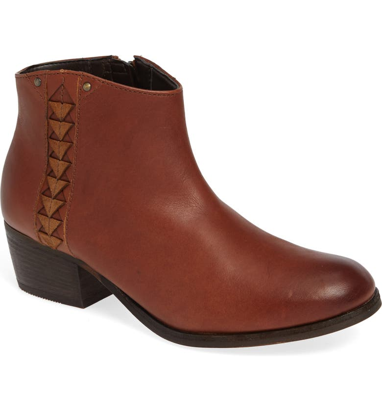 CLARKS<SUP>®</SUP> Maypearl Fawn Bootie, Main, color, DARK TAN LEATHER
