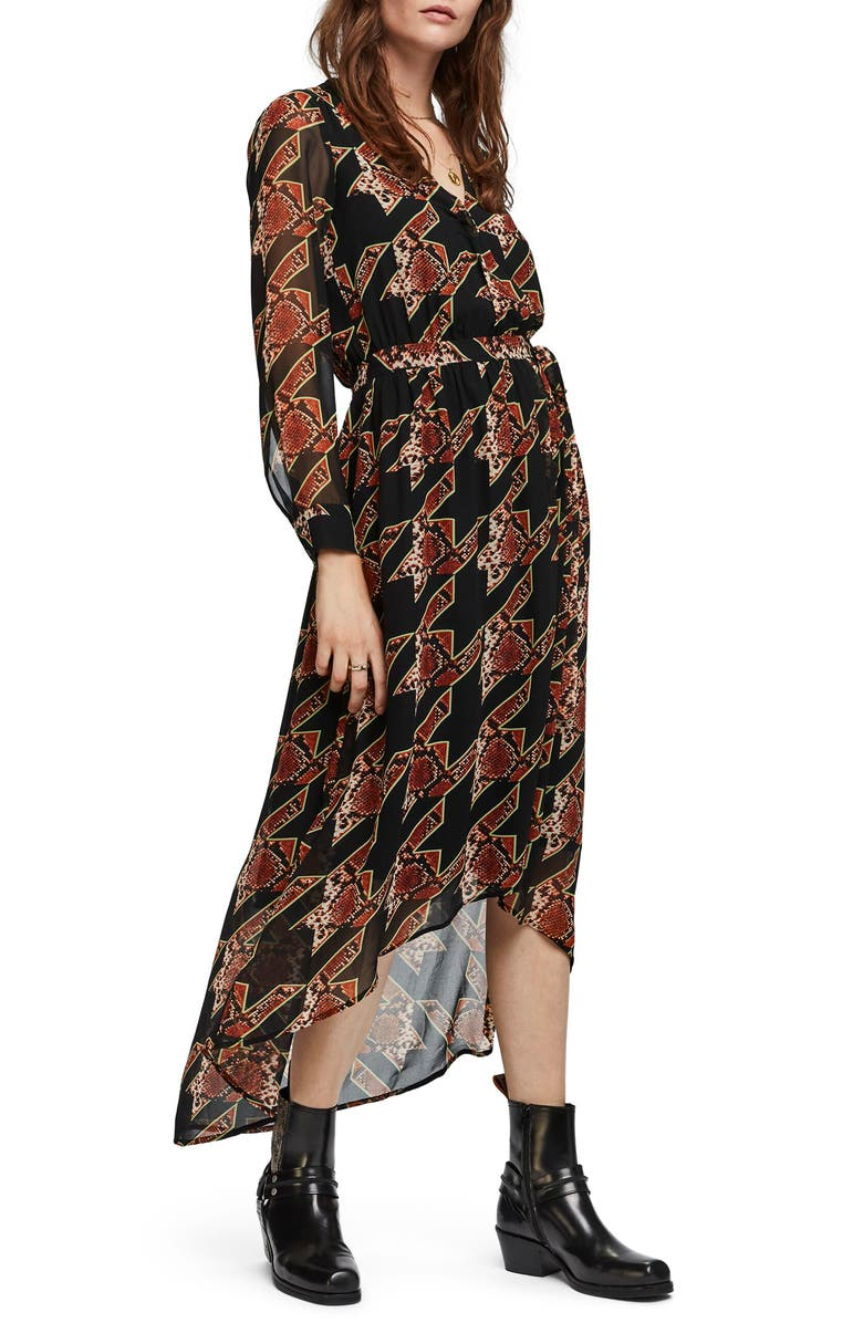 SCOTCH & SODA Long Sleeve Maxi Dress, Main, color, COMBO L