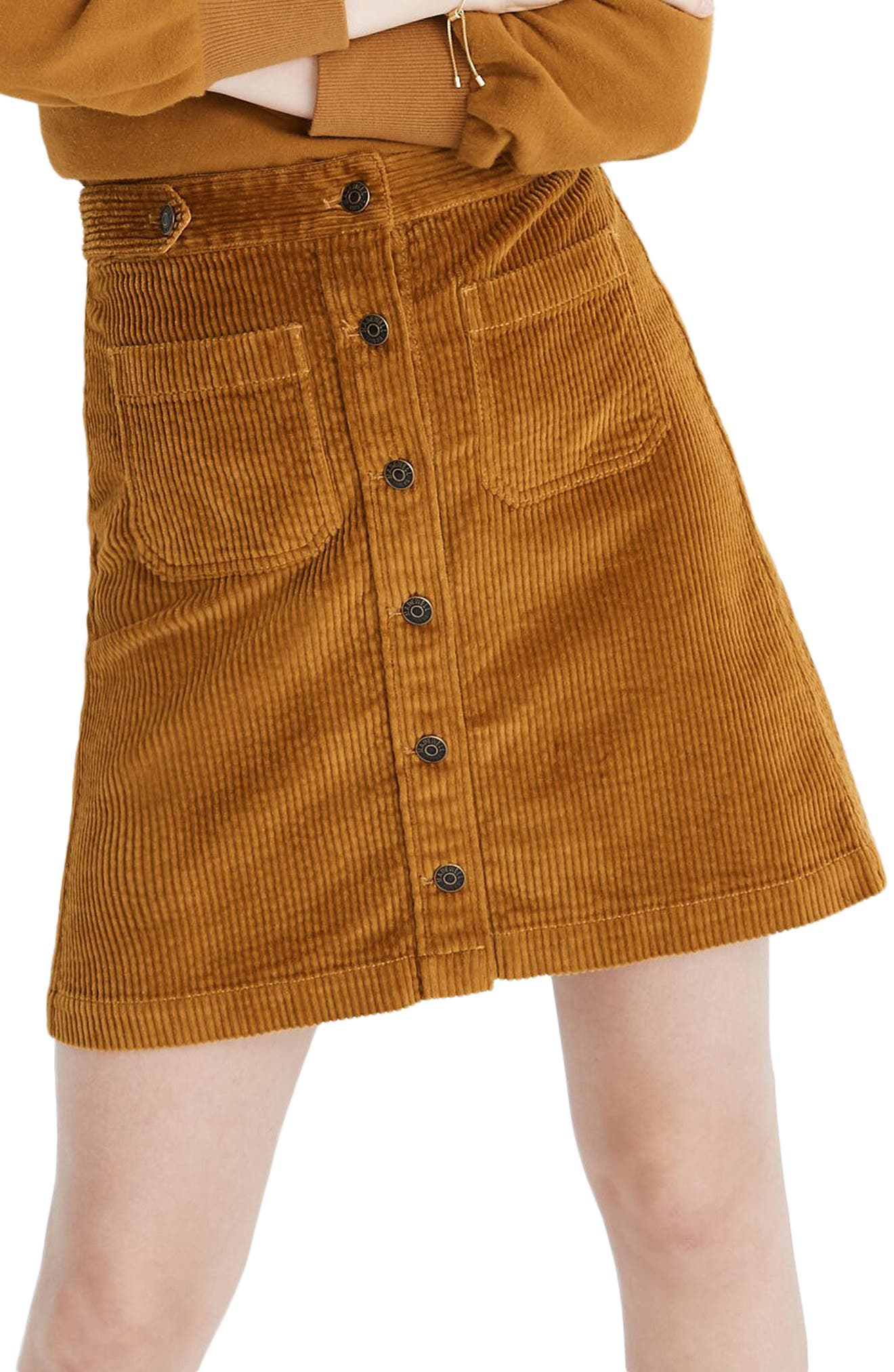 60s Skirts | 70s Hippie Skirts, Jumper Dresses Womens Madewell Button Front A-Line Corduroy Skirt $63.60 AT vintagedancer.com
