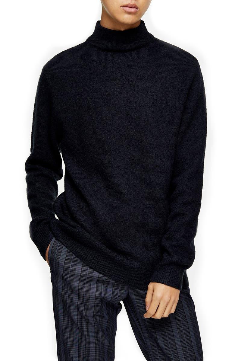 TOPMAN Harlow Side Zip Funnel Neck Sweater, Main, color, NAVY BLUE