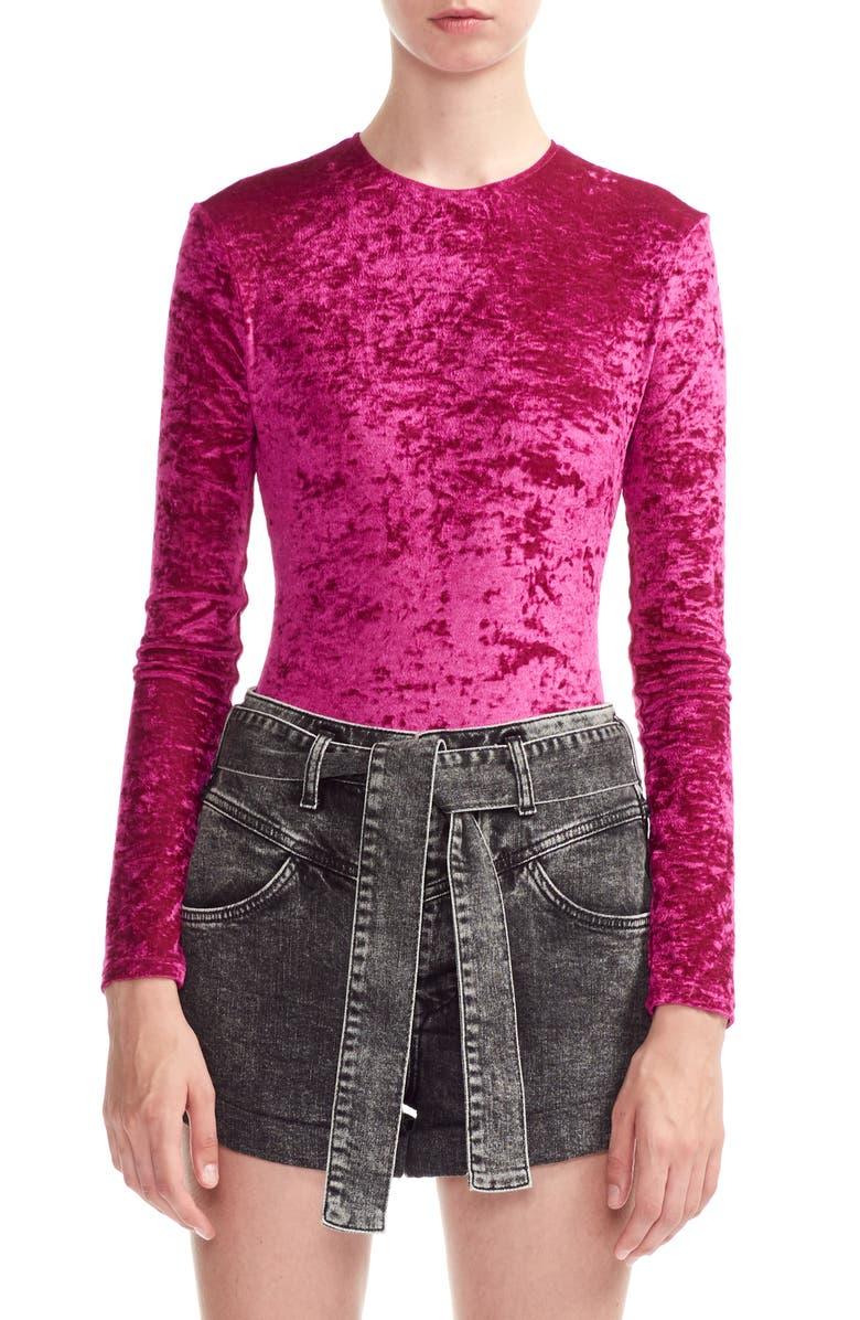 MAJE Tipy Crushed Velvet Bodysuit, Main, color, PINK