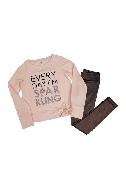 Image of 90 Degree By Reflex Side Tie Long Sleeve Top & Shimmer Legging Set