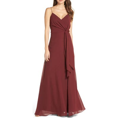 Jenny Yoo Amara Chiffon Overlay V-Neck Evening Dress