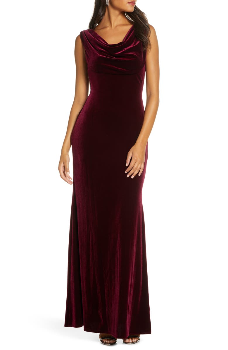 VINCE CAMUTO Cowl Neck Velvet Gown, Main, color, BURGUNDY