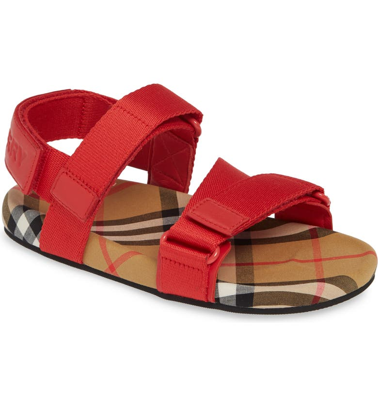 BURBERRY Redmire Sandal, Main, color, BRIGHT RED/ANTIQUE YELLOW