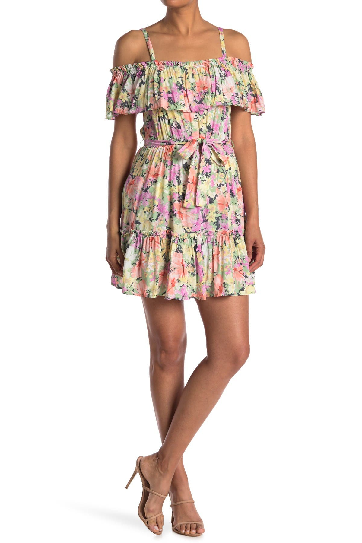 Image of Lush Ruffle Cold Shoulder Floral Print Dress