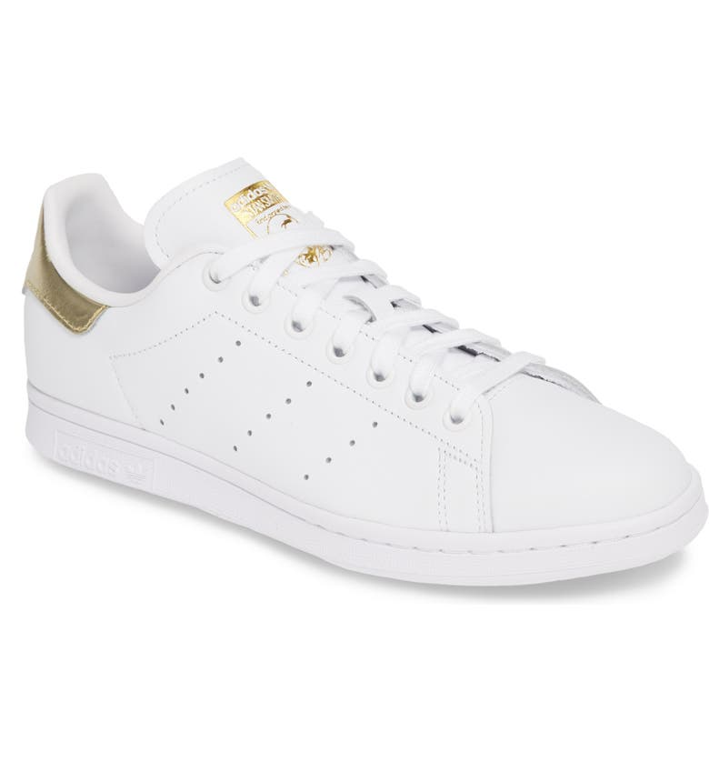 ADIDAS Stan Smith Sneaker, Main, color, WHITE/ WHITE/ GOLD