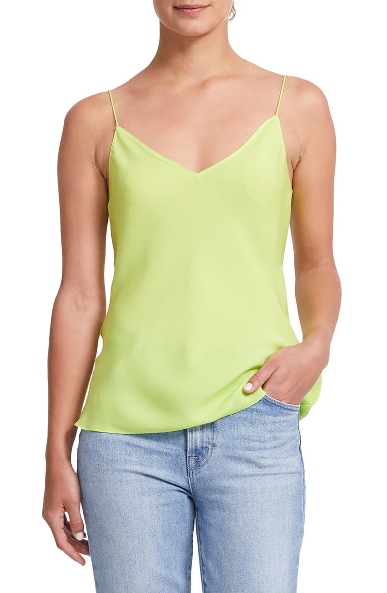 THEORY Easy Silk Camisole, Main, color, NEON GREEN