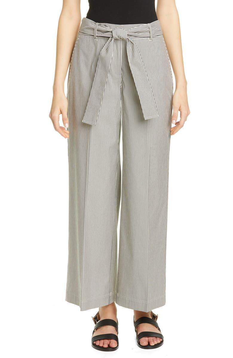 LAFAYETTE 148 NEW YORK Rockefeller Belted Wide Leg Crop Pants, Main, color, BLACK MULTI