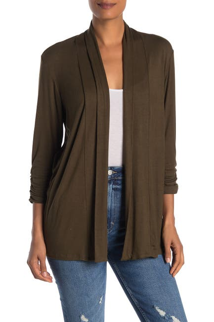 Image of Bobeau Shawl Collar 3/4 Length Sleeve Cardigan