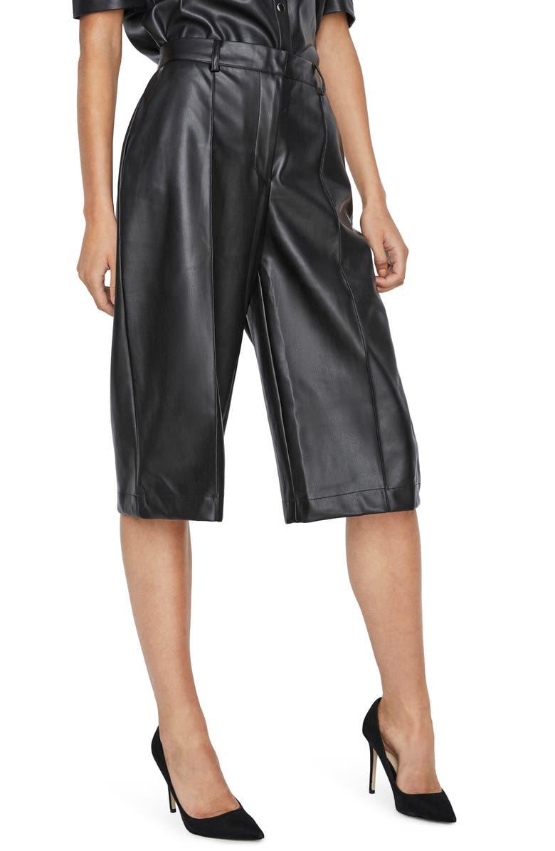 VERO MODA Paulina Faux Leather Bermuda Shorts, Main, color, BLACK