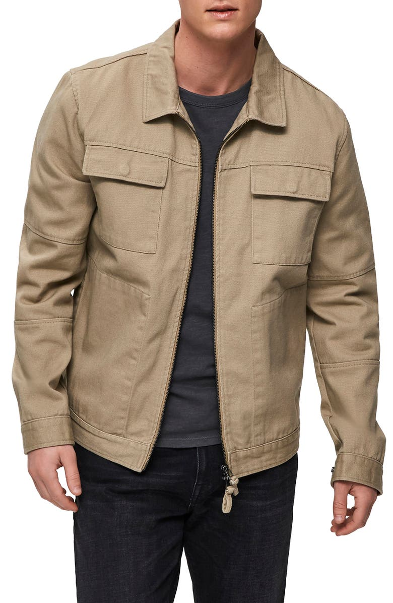 SELECTED HOMME Slim Fit Twill Workwear Jacket, Main, color, SAND