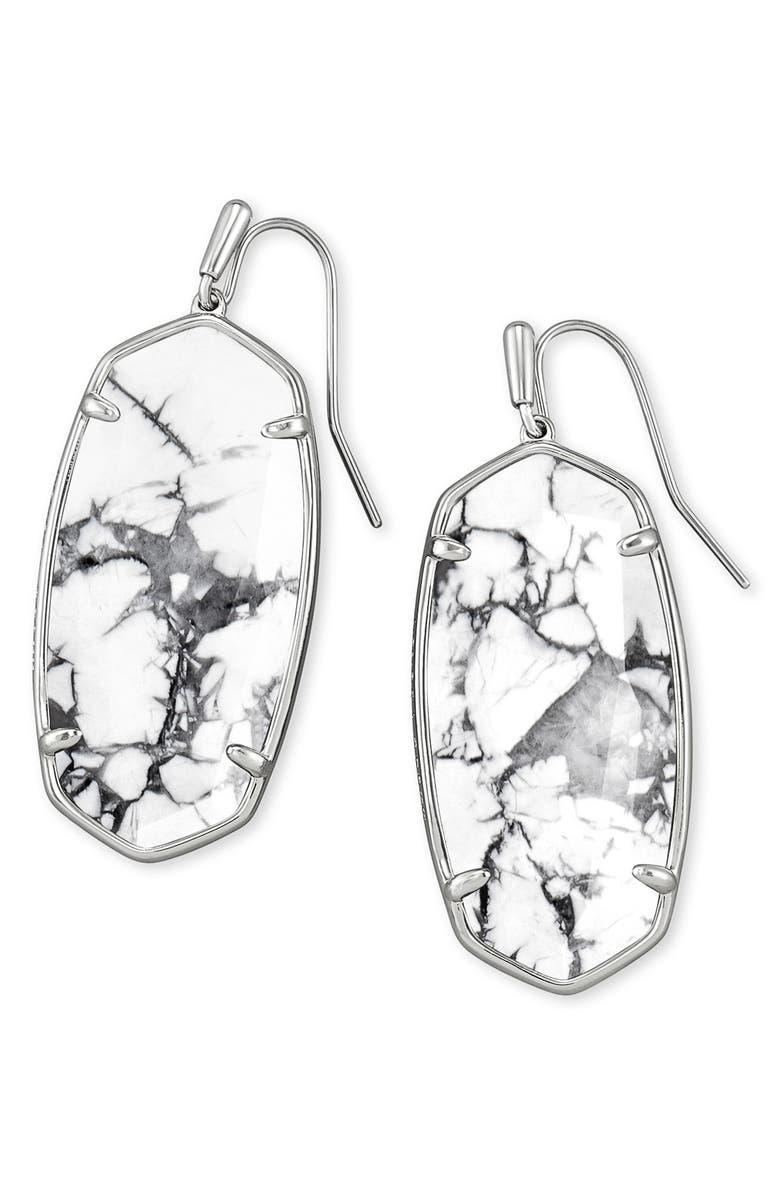 KENDRA SCOTT Faceted Elle Drop Earrings, Main, color, RHODIUM WHITE HOWLITE
