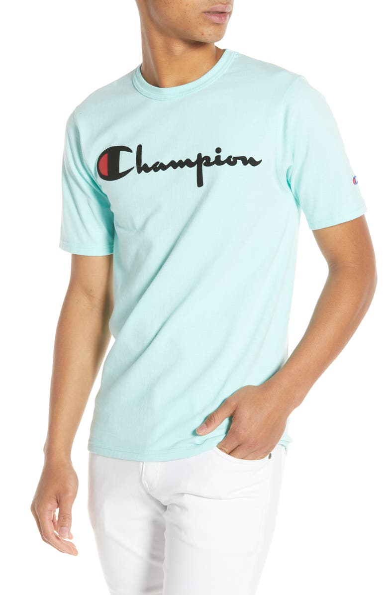 CHAMPION Vintage Flock Print Logo T-Shirt, Main, color, 300