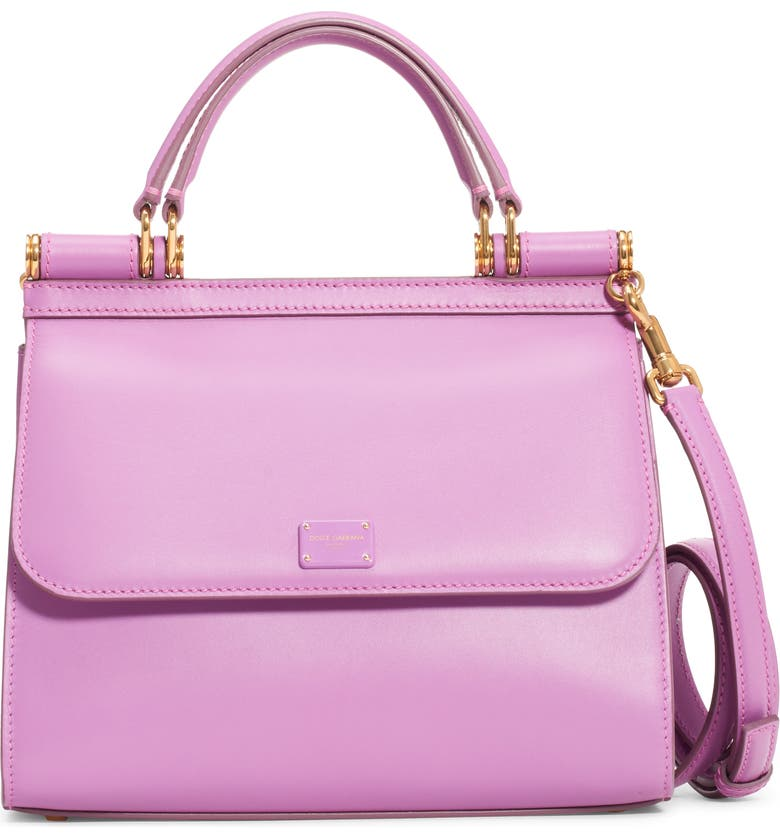 DOLCE&GABBANA Sicily 58 Leather Satchel with Crossbody Strap, Main, color, LAVANDA