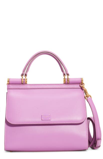 Dolce & Gabbana Sicily 58 Leather Satchel With Crossbody Strap In Lavanda