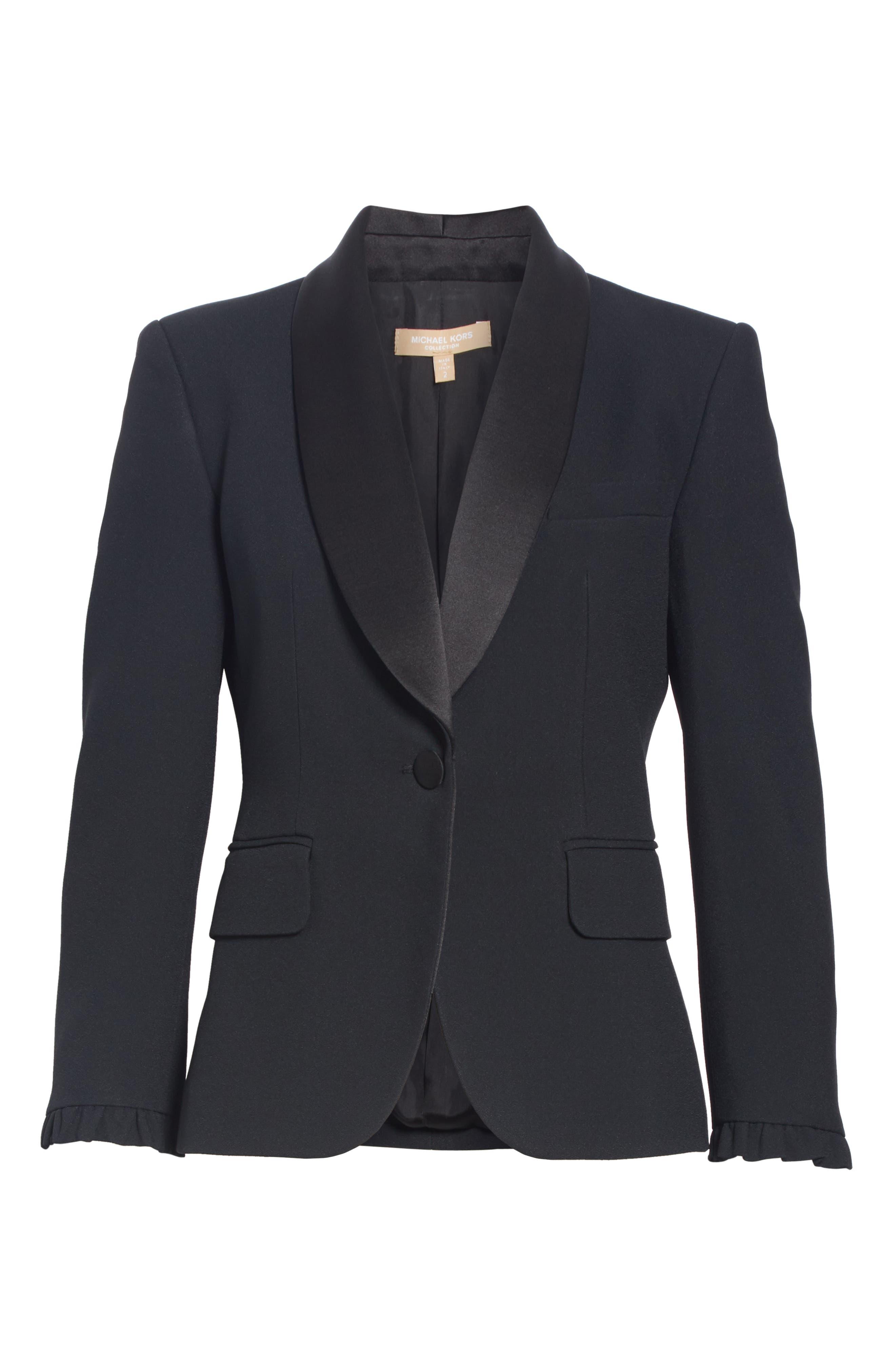 ,                             Ruffle Cuff Double Crepe Sable Tuxedo Jacket,                             Alternate thumbnail 6, color,                             BLACK