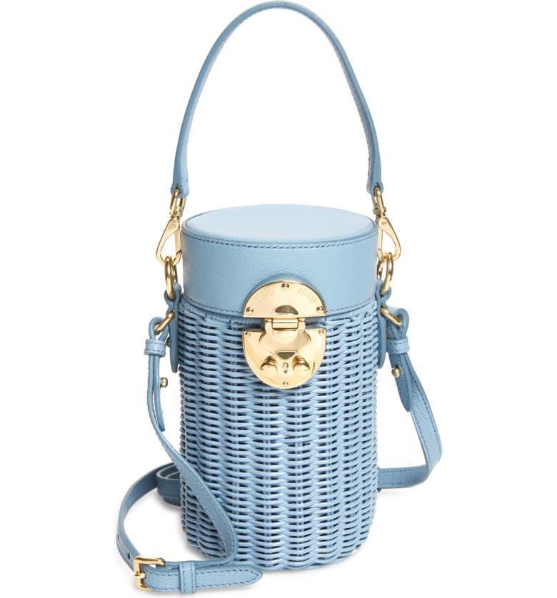 MIU MIU Wicker Canteen Crossbody Bag, Main, color, ASTRALE