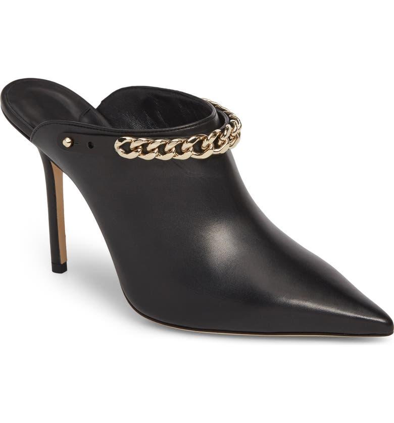 JIMMY CHOO Lexx Chain Pointy Toe Mule, Main, color, BLACK/ GOLD
