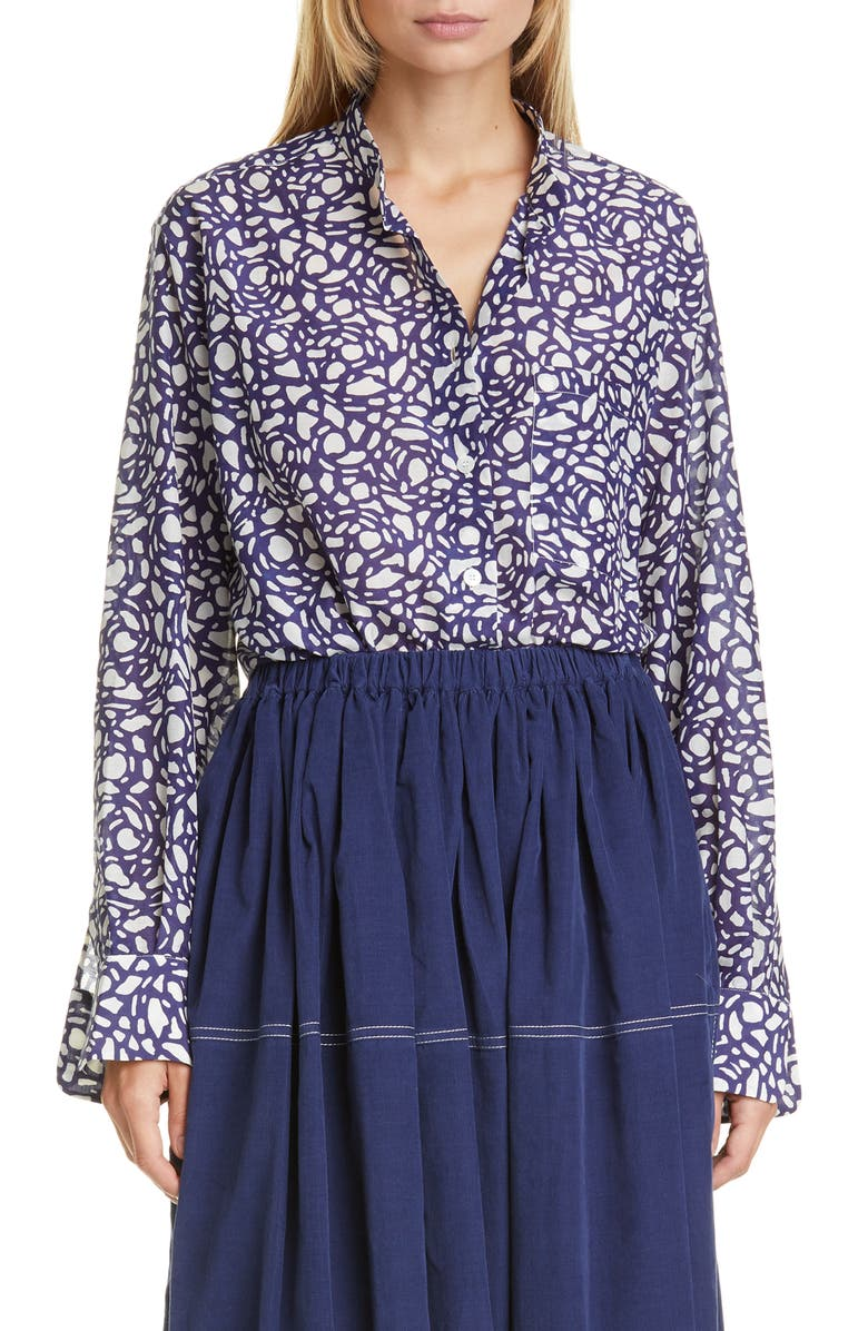 SARA LANZI Snake Print Oversize Cotton, Silk & Wool Blouse, Main, color, SNAKESTONE BLUE