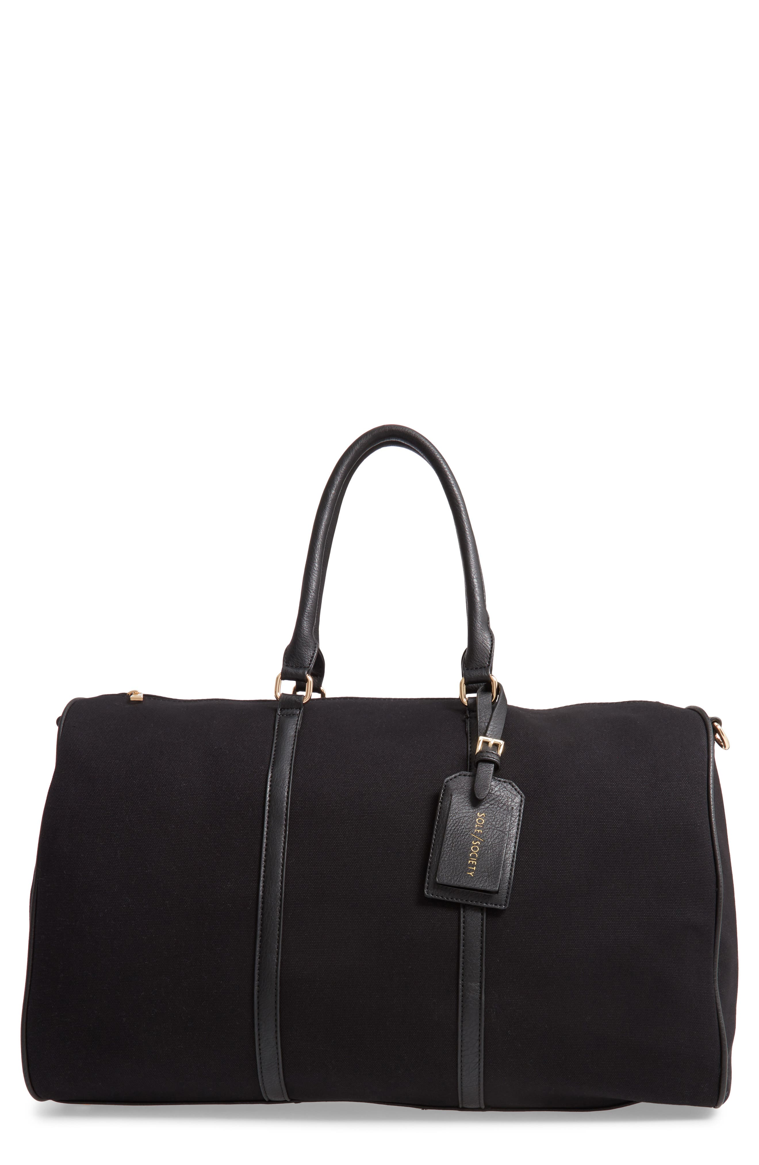 ,                             Lacie Faux Leather Duffle Bag,                             Main thumbnail 1, color,                             BLACK CANVAS