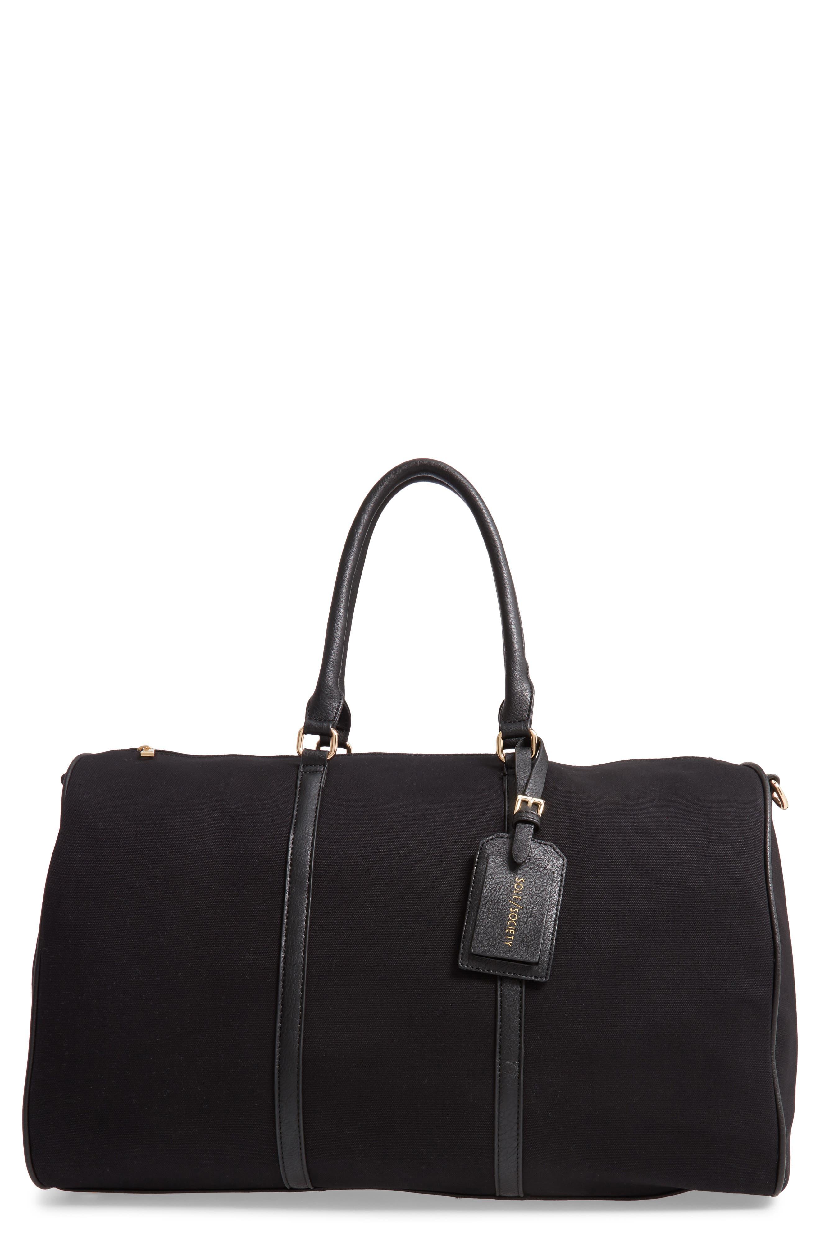 Lacie Faux Leather Duffle Bag, Main, color, BLACK CANVAS