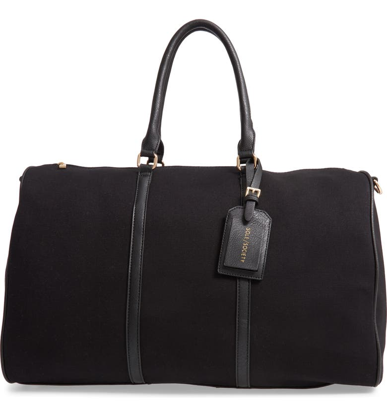 SOLE SOCIETY Lacie Faux Leather Duffle Bag, Main, color, BLACK CANVAS