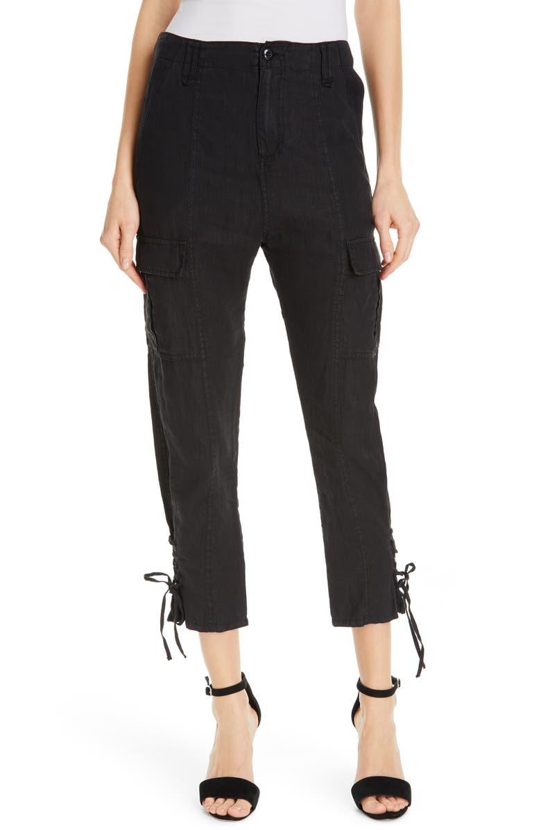 JOIE Telutci Tie Cuff Linen Cargo Pants, Main, color, 001