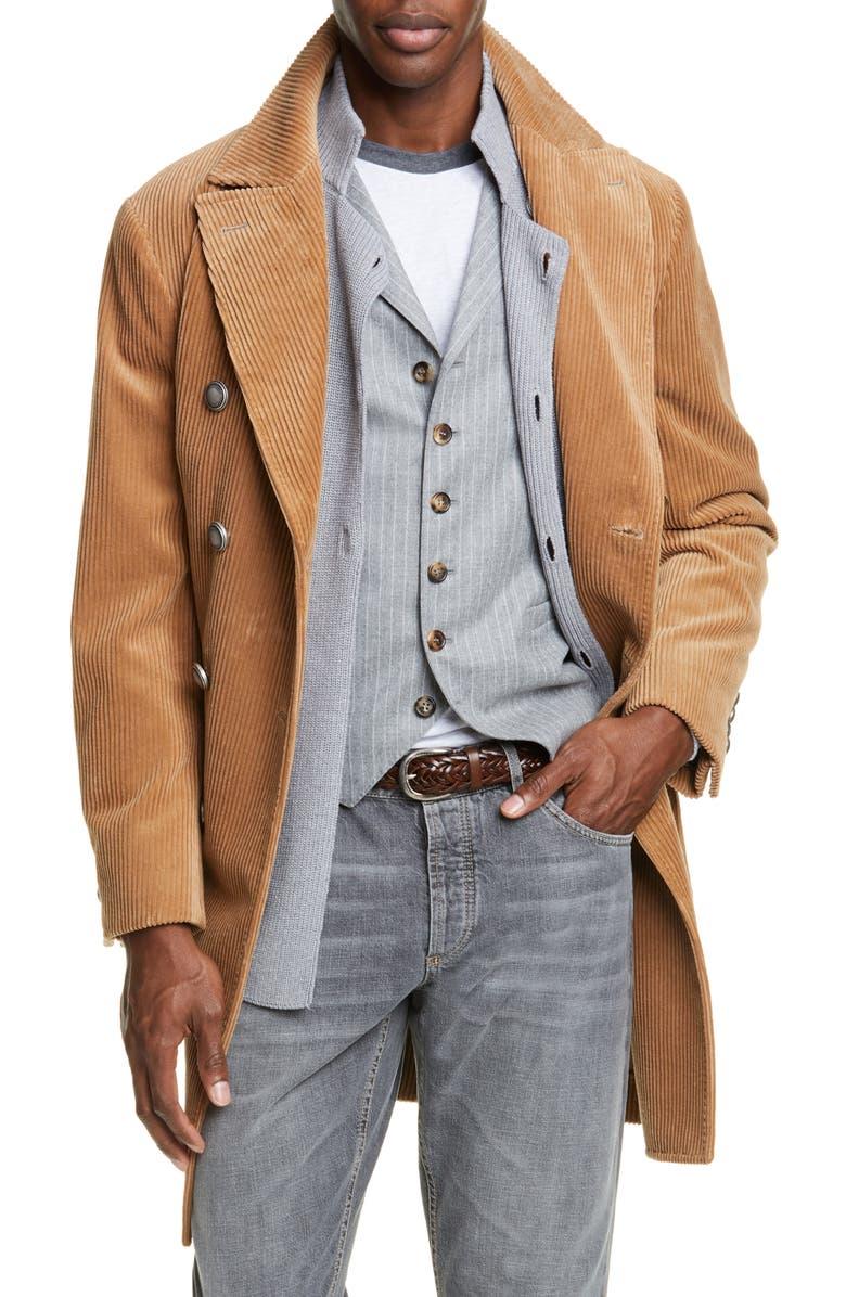BRUNELLO CUCINELLI Corduroy Cotton & Cashmere Top Coat, Main, color, 200