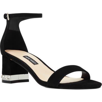 Nine West Hazel Crystal Embellished Ankle Strap Sandal, Black