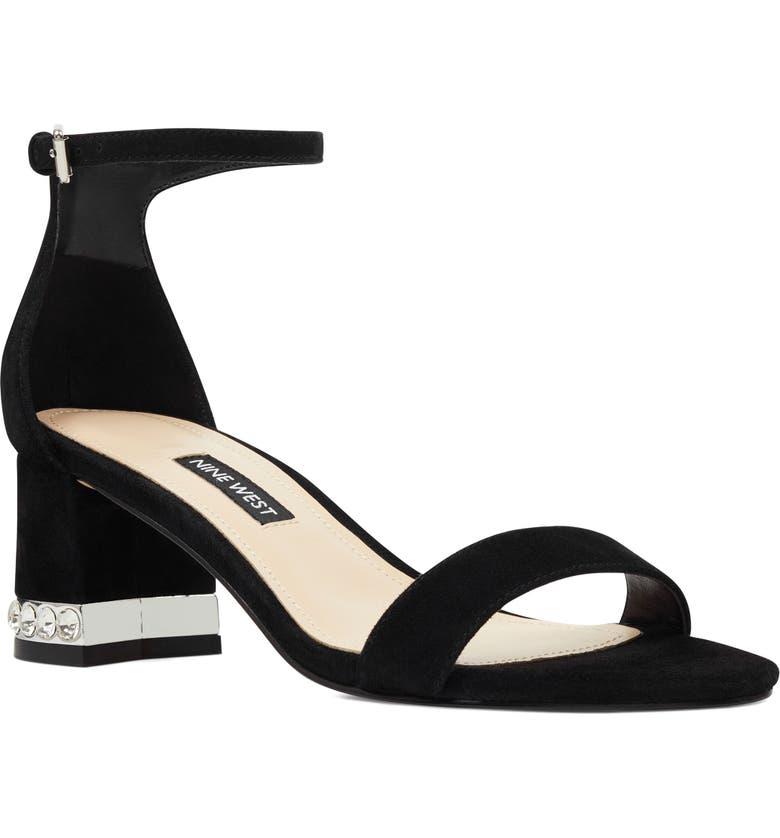NINE WEST Hazel Crystal Embellished Ankle Strap Sandal, Main, color, 001